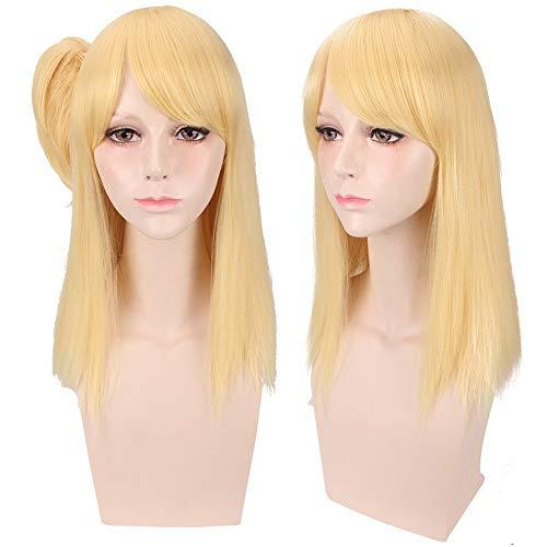 COJETER Or 50cm cheveux longs mi-longs droites attachés avec un clip en queue de cheval FAIRY TAIL Manga Lucy Heartfilia Perruque de maquillage de cosplay pour les femmes Ombre de cheveux humains
