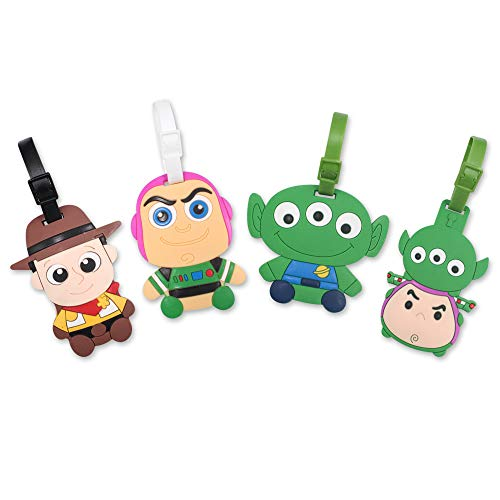 Finex 4 Pcs Set Toy Story Woody Buzz Lightyear Squeeze Alien Silicone Travel Luggage...