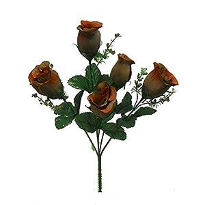1 Bouquet of 5 Roses Buds Bush Silk Wedding Fake Faux Bouquet Party Decor Artificial Flowers