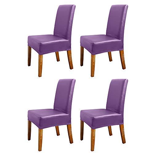 Galapara Stoelhoezen, 4-delige set, waterdicht PU-leer, stretch, afneembare wasbaar, moderne stoelbekleding voor hotel, eetkamer, decoratie
