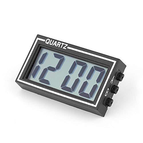 Zerone Auto-Armaturenbrett-Uhr mit LCD-Display, Uhrzeit und Datum, zum Aufkleben, digitale Uhr mit Halterung