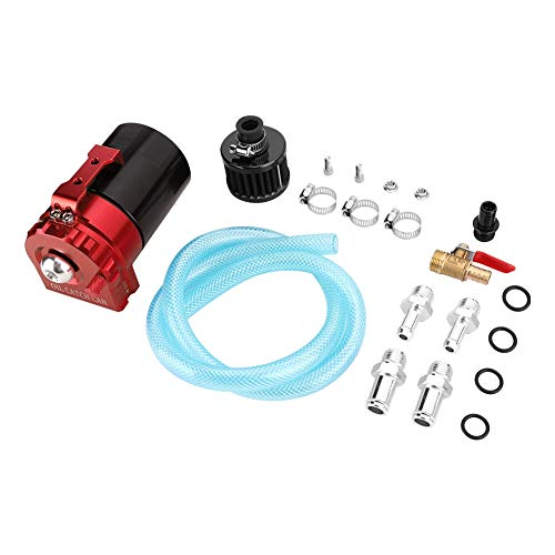 300ML Oil Catch Can, Universal Car Engine Catch Tank Reservoir Respirateur Can Air-Oil Filter Accessory(rouge noir)