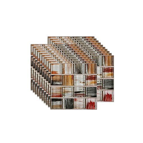 20PCS Fliesenaufkleber PVC, Mosaik Fliesen Klebefolie Selbstklebend Hitzebeständig Wasserdicht Fliesensticker für Küche Fliesendekor Wandaufkleber Mosaikstil Braun (10 x 10 cm / 4 x 4 Zoll)