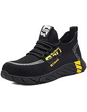 Bestgift Unisex Anti-smashing Steel Lightweight Breathable Safety Shoes Black+Yellow 48/US 13