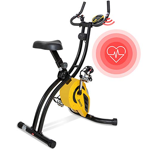 Folding Magnetic Upright Exercise Bike with Pulse - Sitting & Standing Indoor...