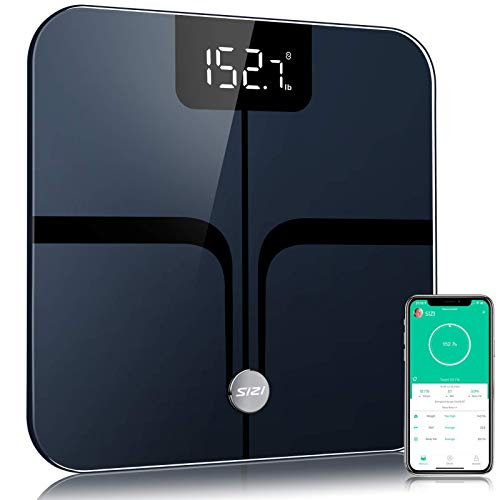 Body Fat Scale Bluetooth【Upgrade HighPrecision】Smart BathroomScaleBMI Digital Scale Wireless Body Composition Analyzer and Weighing Monitor with Free APP sync 396 lbsBlack