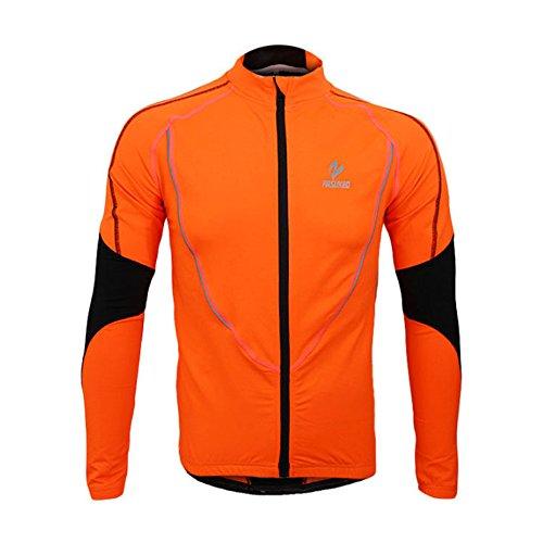 emansmoer Homme Coupe-Vent Doublé Polaire Outdoor Sport Veste de Cyclisme Vélo équitation Jersey Manches Longues Zip Veste (XXX-Large, Orange)