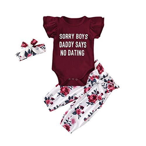 Eghunooye Neugeborenes Baby Mädchen Rosa Kleidung Outfits Sorry Boys Daddy SAYS NO Dating Print Kurzarm Strampler Leopard Hosen mit Stirnband Mode 3Stücke Kleidung Set (Weinrot, 0-6Monate)
