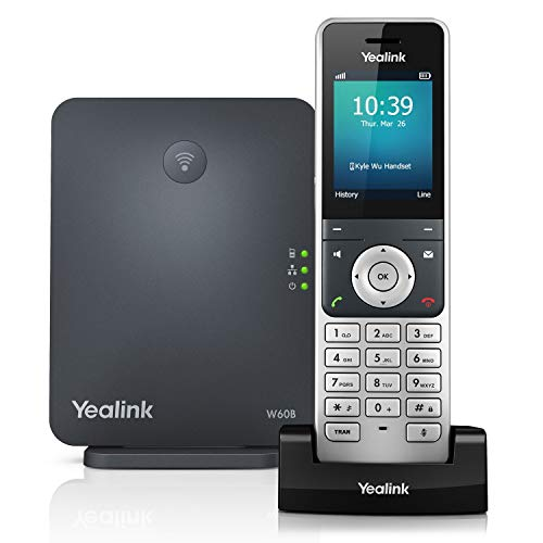 Yealink W60P Cordless DECT IP Phone and Base Station, 2.4-Inch Color Display. 10/100 Ethernet,...