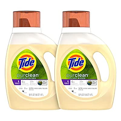 Tide Purclean Plant-Based Laundry Detergent Liquid, Honey Lavender Scent, 50 oz, Pack of 2, 64 Loads Total (Packaging May Vary)