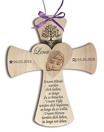 Taufkreuz aus Holz inkl. Foto und individueller Wunschgravur | Geschenk zur Taufe | Taufgeschenk | Geburt | Baby | 25x30cm