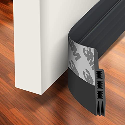 """Holikme Door Draft Stopper Under Door Draft Blocker Insulator Door Sweep Weather Stripping Noise Stopper Strong Adhesive 39"""" Length Black"""