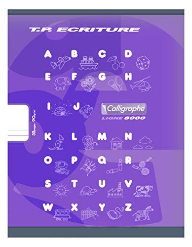 Calligraphe 108503C - Un cahier de travaux pratiques (gamme 8000 de Clairefontaine) 32 pages 17x22 cm 90g lignes DL5mm et pages unies blanches, couverture carte offset, couleur aléatoire