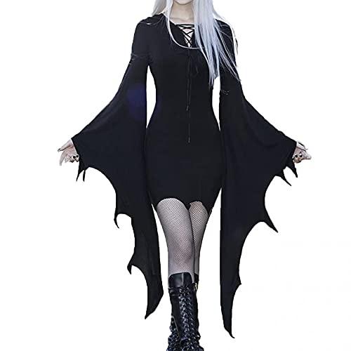 Julhold Vestido temático de Halloween para mujer, cuello en V, manga murciélago, vestido de bruja, disfraz de cosplay, disfraz de Halloween (negro, XL)