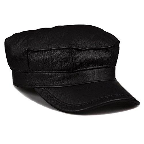ZYONG*Mode Echt Lederen Heren Winter Cap Hoed 3 Kleur 3 Size Opties Zwart L (58-59 cm)