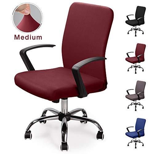 Bürostuhl bezug Bürostuhlabdeckung Stuhlhussen Drehstuhl Bezug Moderne Stuhl Überzug Sessel Cover Elastische Waschbar Stuhlhussen Set für die Bürostuhl Computer Schreibtischstuhl (Weinrot, M)