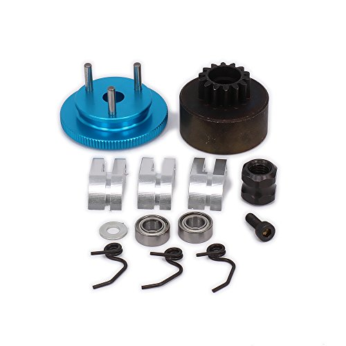 RCAWD Clutch Bell 14T Gear Flywheel Assembly Bearing Clutch Shoes Springs Cone Engine Nut D10200 for 1/8 RC Hobby Model Nitro Car HPI HSP Traxxas Axial Himoto 1set(Blue)(Shipped Locally)