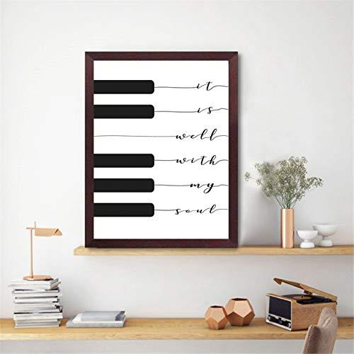 Lyric Print Es ist gut mit meiner Seele Musik Poster Klavier Tastatur Kunst Leinwand Malerei Bild Home Wandkunst Dekor Kunstplakat Muttertagsgeschenk 20x24 Zoll Rahmenlos