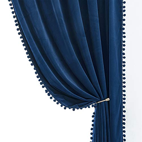 "Treatmentex Pompom Blue Velvet Curtains for Bedroom Windows 84"" Long Decorative Room Darkening Curtains for Living Room Navy Royal Blue 42"" w x 2 Panels"