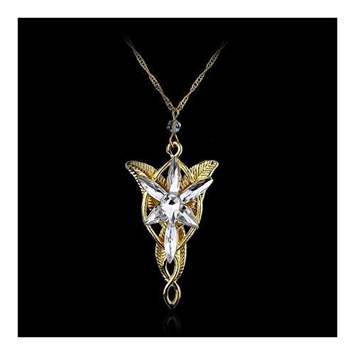 ZAOPP Moda Moda clásico crepuscular de la Estrella Collar Gargantilla Cadena de Cristal de Roca del Punk (Length : 50cm, Metal Color : Gold)