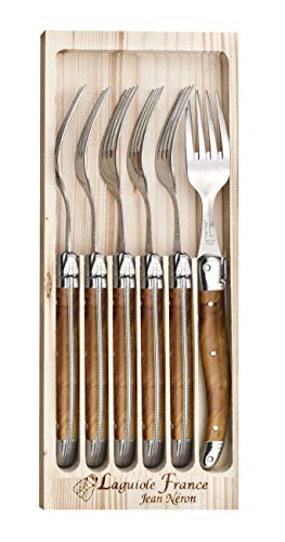 Le coffret bois de 6 fourchettes de table Laguiole imitaiton bois d'olivier