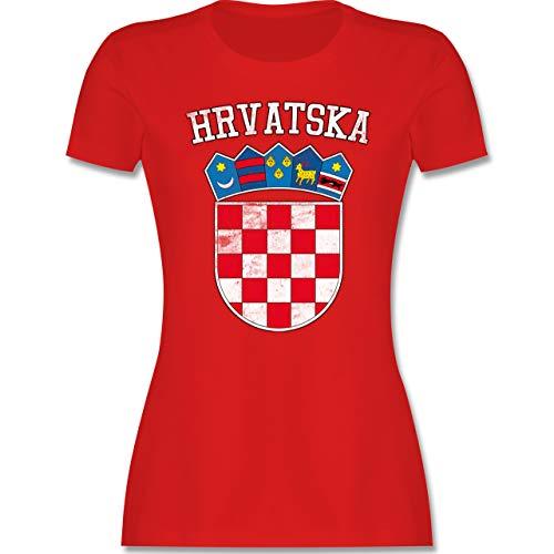 Fußball-Europameisterschaft 2021 - Kroatien Wappen WM - L - Rot - kroatisches Tshirt - L191 - Tailliertes Tshirt für Damen und Frauen T-Shirt