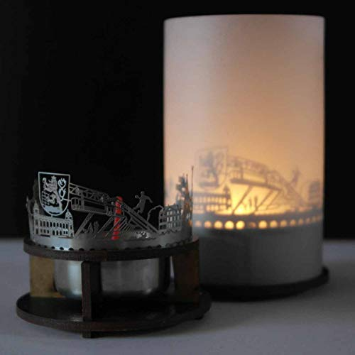 13gramm Wuppertal-Skyline Windlicht Schattenspiel Premium Geschenk-Box Souvenir, inkl. Kerzenhalter, Kerze, Projektionsschirm und Teelicht