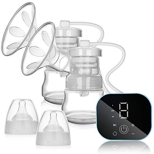 wolketon Milchpumpe, Elektrische Milchpumpe, Doppel Brustpumpe mit LED Touchscreen, 3 Modi, 9 Stufen, BPA-frei, Wiederaufladbar Muttermilch Abpumpen inkl. Schnuller mit Massage & Absaugung, Leise