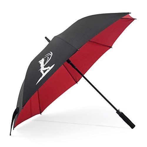 BERKS Paraguas de Golf de 137cm a Prueba de Viento y Lluvia. Paraguas de Golf de Doble Capa Negro y Rojo