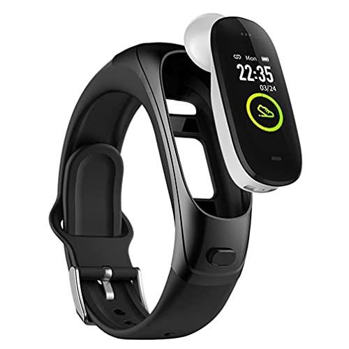 Rastreador de actividad física 2 en 1 con auricular inalámbrico Bluetooth,seguimiento del sueño, reloj inteligente para hombres y mujeres, compatible con teléfonos inteligentes iPhone Android