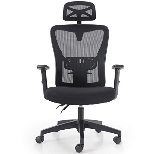 PHI VILLA Office Chair with Headrest and High Back,Home Office Desk Chairs with Wheels and Armrest for Women,Men,Short People and Heavy People,Max Laod Bearing up to 250 lbs