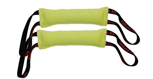 Lime Green Bundle of 2 French Linen Dog Tug Toys (3' X 10') 2 Handles Redline K9