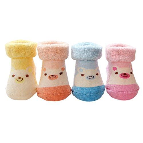 VWU Lot de 4 Paires Unisexe Bebes Filles Garçons Infant Chaud et épais Antiderapants Chaussons Chaussettes de Manchette Animal Panda Porc Nouveau-Nés Bébé Chaussettes En Coton 0-9 Mois (Porc)