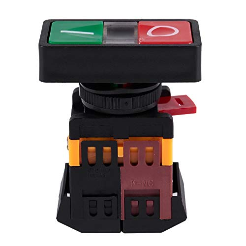 Fransande AC 220 V luz amarilla ON-OFF START STOP Interruptor de botón pulsador Momentané 1 NO 1 NC