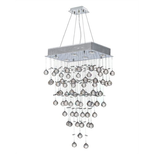 Worldwide Lighting Icicle Collection 6 Light Chrome Finish and Clear Crystal Rectangle Chandelier 20' L x 12' W x 32' H Medium