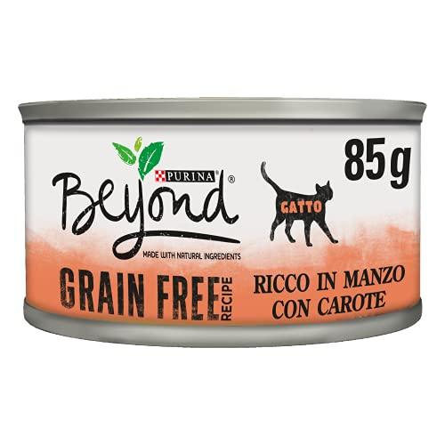 PURINA BEYOND Húmedo Gato Grain Free Rico en Ternera con Zanahorias – 12 latas de 85 g Cada Paquete de 12 x 85 g