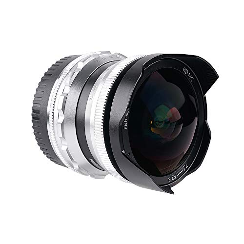 PERGEAR 7.5mm F2.8 カメラ交換レンズ 超広角 魚眼レンズ 手動式 焦点固定レンズ パナソニック G/GH/GX、オリンパス EP/EM/EPL M4 / 3ミラーレスシリーズカメラに対応(M4 / 3マウント, シルバー)
