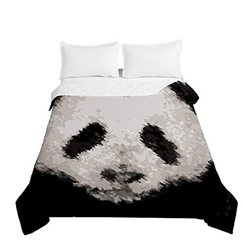 Colcha de Verano Cubrecama Colcha Bouti, Chickwin 3D Panda Animal Impresión Edredón Manta de Dormitorio Primavera Ligero Colchas para Cama Individual Matrimonio (Panda Negro,230x260cm)