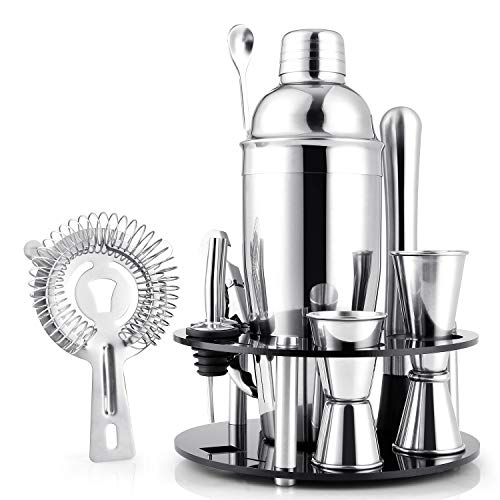 amzdeal Cocktail Set 12 Pezzi Shaker Cocktail Set Barman Kit Professionale in Acciaio Inossidabile, Set Strumenti Bar, 750ml Cocktail Shaker con Accessori, Supporto in Acrilico
