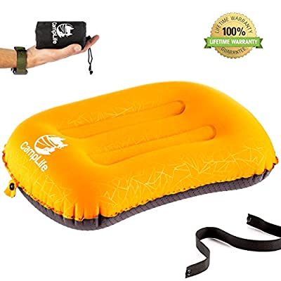 CAMPLIFE Ultralight Inflatable Camping Travel Pillow - ALUFT 2.0 Compressible, Compact, Comfortable, Ergonomic Inflating Pillows for Neck & Lumbar Support While Camp, Hiking, Backpacking (Orange)
