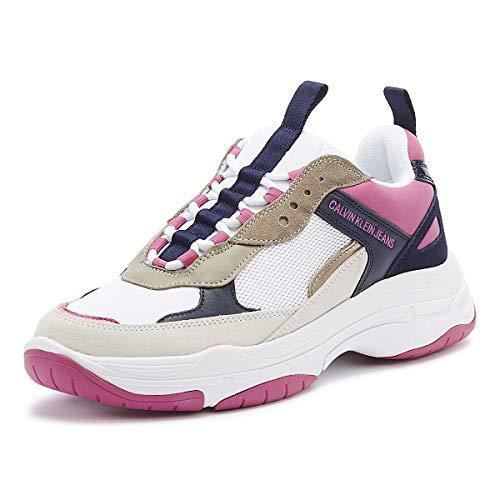 Calvin Klein Jeans Maya Damen Weiß/Rosa/Blau Sneakers-UK 4 / EU 37