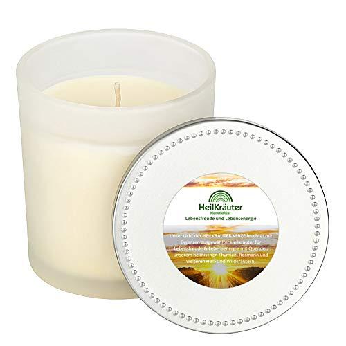 Heilkräuter Manufaktur Bio-Heil-Kräuter-Kerze für Lebensfreude und Lebensenergie- Handarbeit aus Rapswachs und natürlichen Heilkräutern. Im Glass mit Deckel