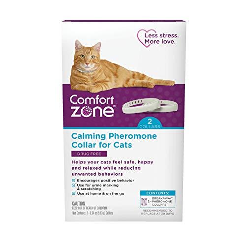 Comfort Zone Cat Calming Pheromone Collar, Anxiety & Stress Relief Aid, Breakaway Design, Grey, 2 Pack