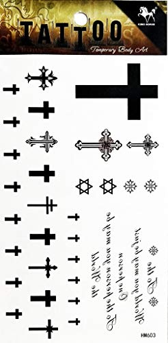 PP TATTOO 1 Sheet Religion Christian Cross Jesus Symbol Temporary Tattoo Stickers Waterproof Body Arm Tattoo Sticker for Men Women Make up Fake Tattoo Removable
