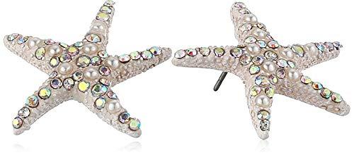 Betsey Johnson (GBG) Starfish Stud Earrings, PEARL