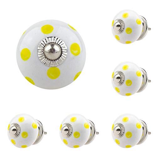 6 x Möbelknopf Möbelknauf Möbelgriff Nr. 171_005JKGH gelb weiss Keramik Porzellan handbemalte Vintage Möbelknöpfe für Schrank, Schublade, Kommode, Tür - Jay Knopf