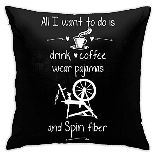 Fundas de Cojines Hpinning Wheel I Love Spinning Pajamas & Coffee Funda de Almohada Cuadrada Funda de Almohada decoración del hogar Cama Dormitorio sofá Silla Funda de cojín 45 × 45 cm