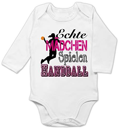 Sport Baby - Echte Mädchen Spielen Handball - 6/12 Monate - Weiß - mädchen Baby echte mädchen Handball - BZ30 - Baby Body Langarm
