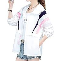 日焼け止め衣 レディース 夏 M-2XL 大きいサイズ ゆったり ショート丈 コート 長袖 薄手 超軽量 通気性 速乾 ラッシュガード 冷房対策 ウインドブレーカー フード付き おしゃれ 刺繍 英字柄 全3色