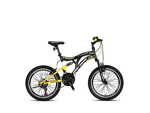 Geroni FCX 100 Fully - Bicicleta de montaña (21 marchas, 20', 24', 26'), color negro y amarillo